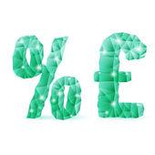 Smaragd groene veelhoekige lettertype — Stockvector