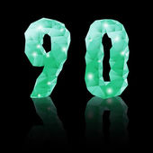 Emerald green polygonal font — Stock Vector