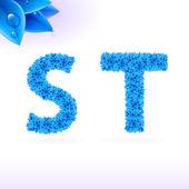 Sans serif font with blue leaf decoration — ストックベクタ