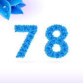 Sans serif font with blue leaf decoration — Stock Vector