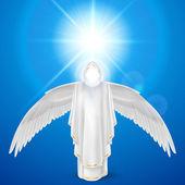 Witte engel tegen hemelachtergrond — Stockvector