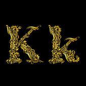 Decorado a letra ' k' — Vetor de Stock