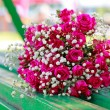 Stock Photo: Wedding bouquet on bench