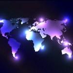 Vector worldmap with laser lights. — Stock Photo