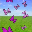 Vector realistic green grass with butterflies — Stock Photo