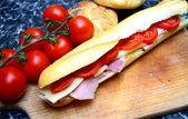 Delicious baguette sandwiches — Stock Photo