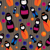 Background with kokeshi dolls — Stock Vector
