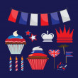 Set of icons for United Kingdom party - Stock Vector