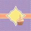 Background with cupcake and decoration — Stock Vector