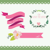 Set of vintage flowers and ribbons — Stock Vector