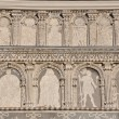 Renaissance facade, pilasters, arches, frescoes, — Stock Photo