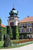 Residencia de palacio, jardín, enredadera en la pared de la torre — Foto de Stock