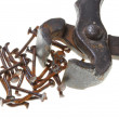 Old rusty pincers and nails on a white background - Stock Photo