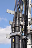 The waveguide cable networks, on the tower construction — Stockfoto