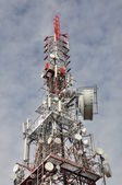 Tower with antennas, transmission systems — Stock Photo