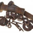 Corroded screw, washer, bolts and nuts — Stock Photo