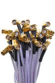Bunch of transmission cable with gold plugs — Stock Photo