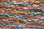 Telecommunication cables colorful, abstract network connections — Stock Photo