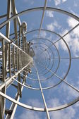 Staircase to the top of the telecommunication tower — Stock Photo