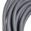 Gray plastic corrugated pipe - Stock Photo