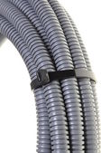 Gray plastic corrugated pipe — Stock Photo