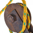 Pulley with yellow rope — Stock Photo