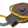 Pulley with yellow rope — Stok fotoğraf