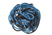 Blue and black ball of cord used on electrical installations — Stock Photo