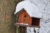 Comedero de pájaros de madera en el árbol — Foto de Stock