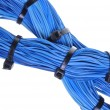 Blue cable bundles in global communication networks  — Stock Photo