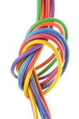 The electric colored wires with knot — Stock Photo