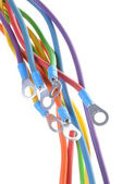 Fili elettrici colorati con terminali — Foto Stock
