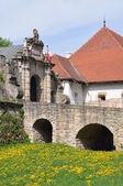 Entrance to the castle Wisnicz — Stock Photo