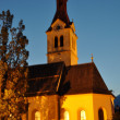 night view church in igls — Stock Photo