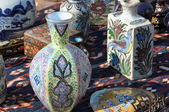 Flea market with porcelain — Stockfoto