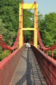 Pedestrian bridge over the river — Stock Photo