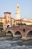 Ponte Pietra River Adige in Verona — Stock Photo