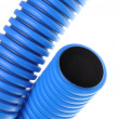 Blue corrugated pipe for electrical high-voltage cables — Stock Photo
