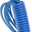 Blue corrugated pipe and wires — Stock Photo