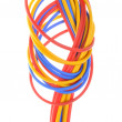 Colored wires used in electrical and computer networks — Stock Photo