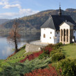 The historic church on the hill above the lake, Tropie — Stock Photo