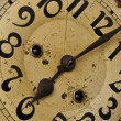 Stock Photo: Clock face with numbers and hands