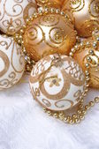 Group gold Christmas balls — Stock Photo
