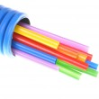 Heat shrink tubing in corrugated pipe — Stock Photo