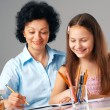 Cheerful Homework. - Stock Photo