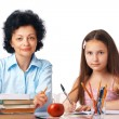 Homework With Granny. — Stock Photo