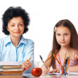 Homework With Granny. — Stockfoto