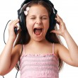 Girl with Headphones Screaming. — Stockfoto #12082628