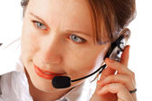 Beautiful call centre executive — Stock Photo