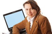 Woman with her laptop — Stock Photo